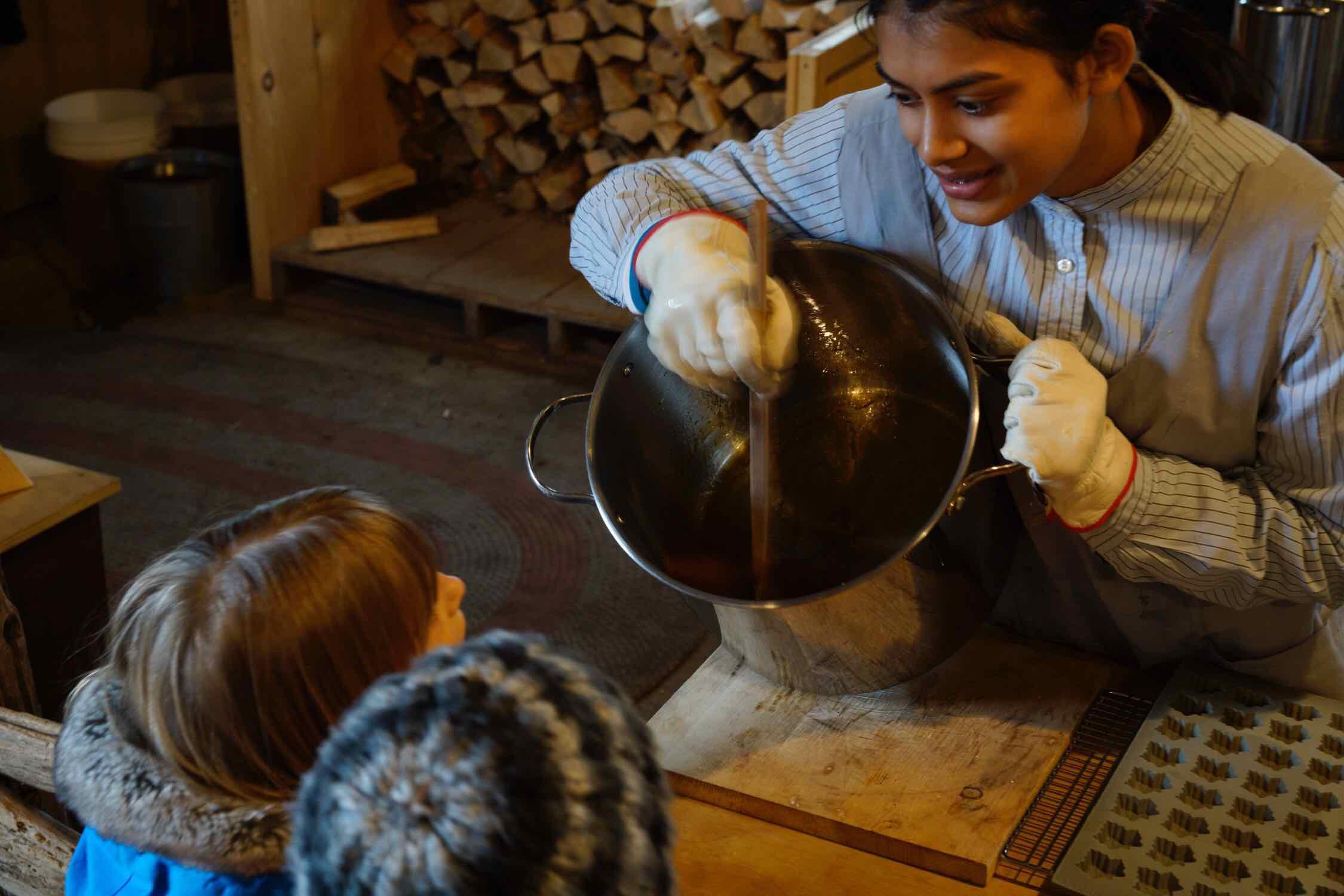 Maple sugar demonstration