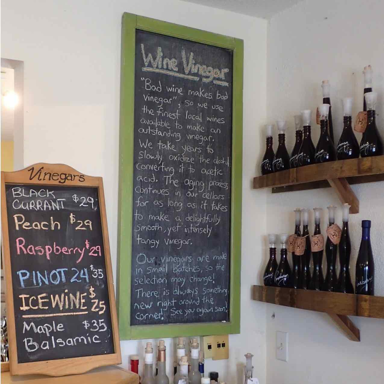 List of Vinegars at Black Prince Winery & Canadian Vinegar Cellars