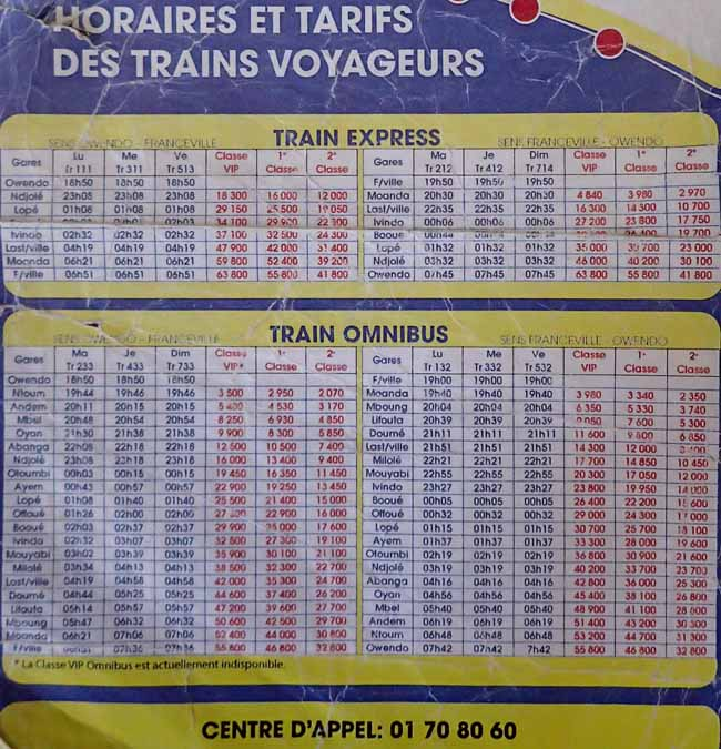 Train schedule and price